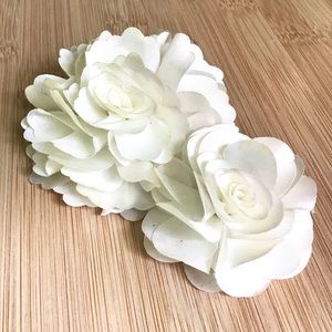 White Silk Double Flower Hair Clip Barrette